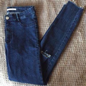 Zara high waisted raw hem jeans
